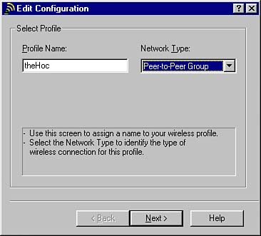 Figure 15.5. You can add a configuration profile for an ad-hoc network ...