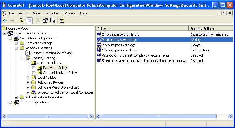 windows xp professional change password