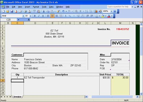 exploring excel templates :: hour 6. using excel templates :: part, Invoice templates
