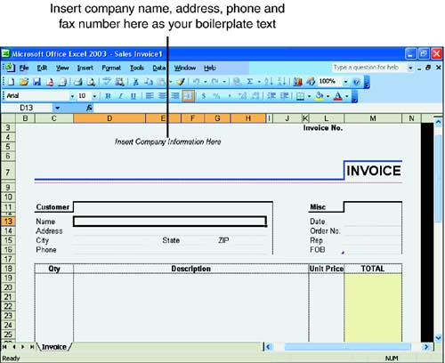 Exploring Excel Templates Hour 6 Using Excel Templates Part I Excel Basics Microsoft Office Excel 2003 In 24 Hours Microsoft Products Etutorials Org